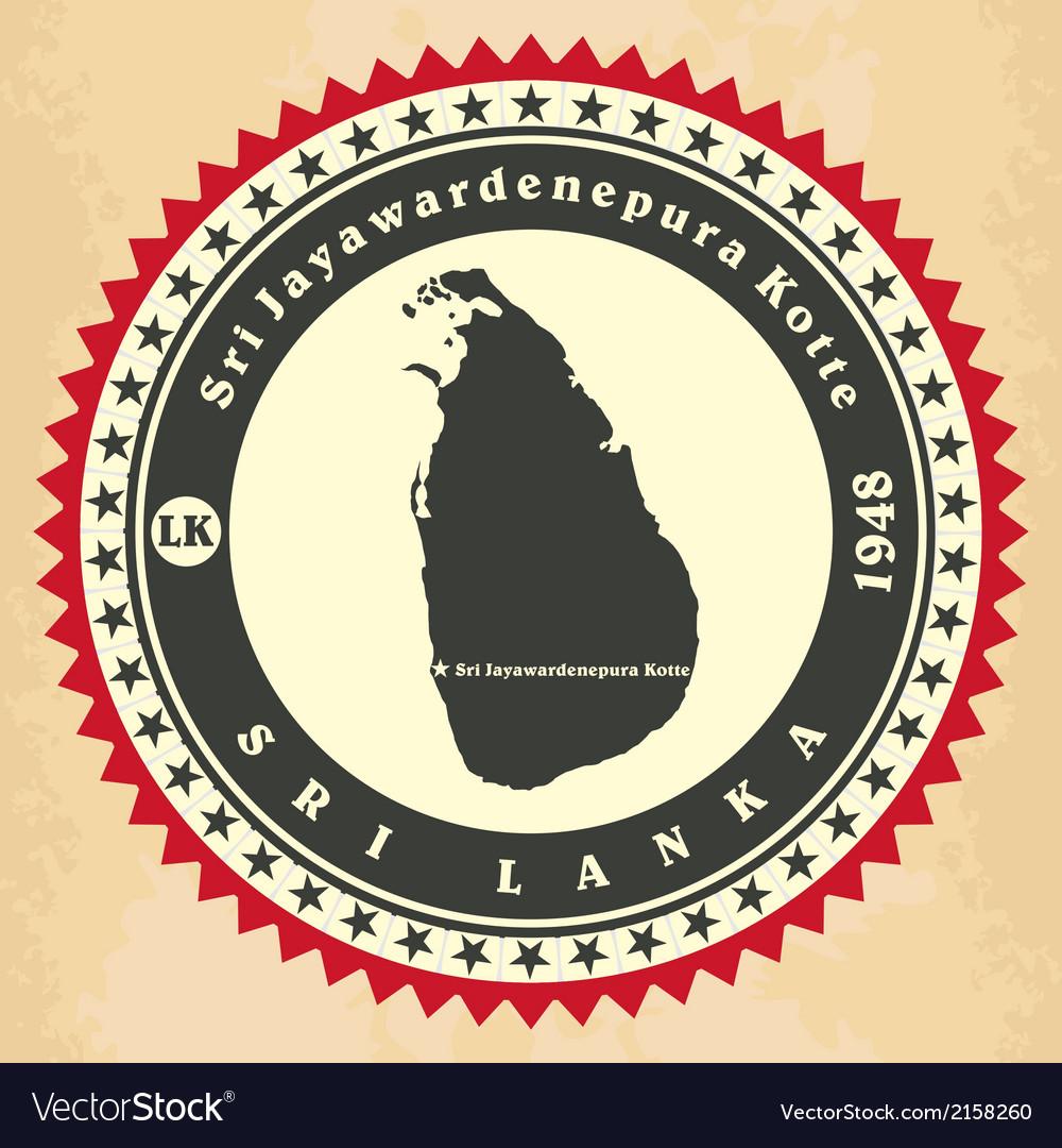 Vintage label-sticker cards of Sri Lanka