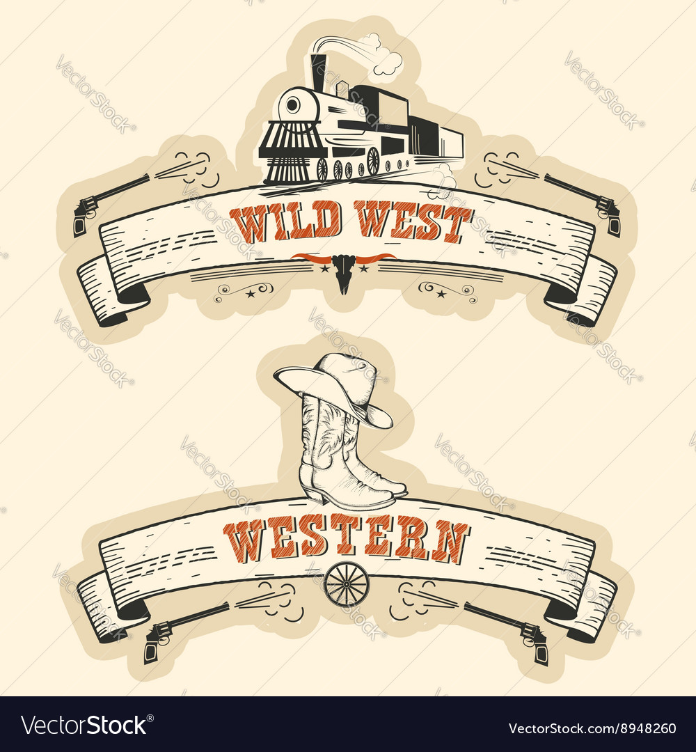 Vintage western and wild west labels isolated vector image