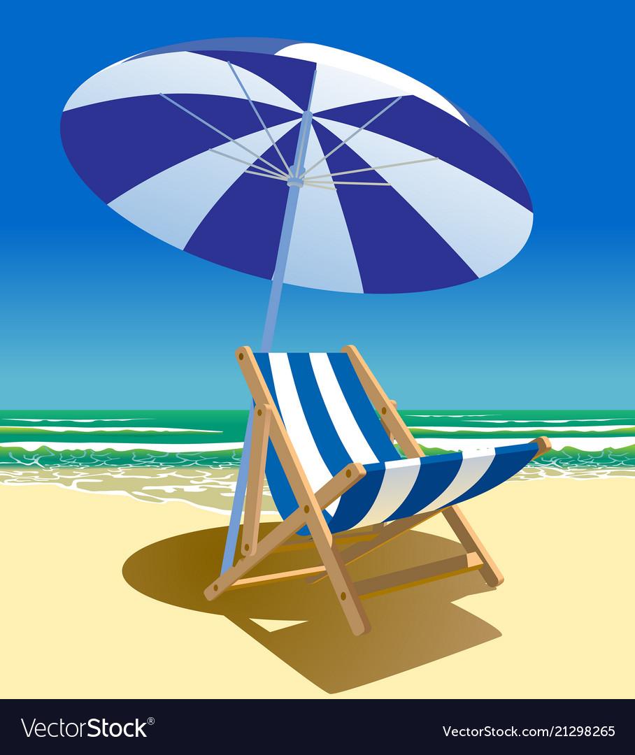 Beach chair and umbrella near the sea