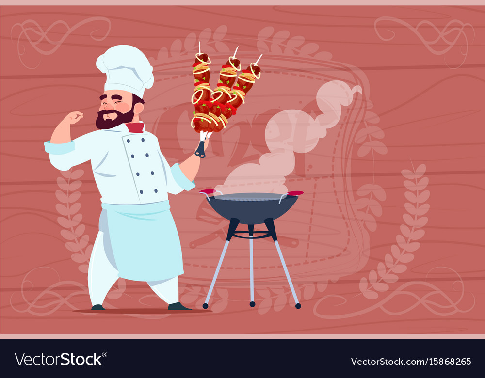 Chef cook hold kebab smiling cartoon restaurant