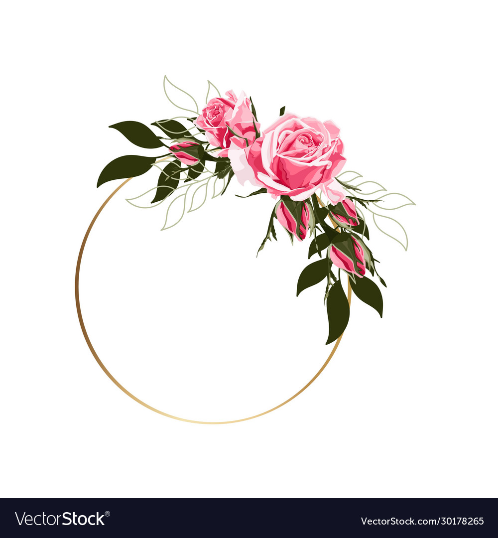 Circle golden frames with pink roses flowers