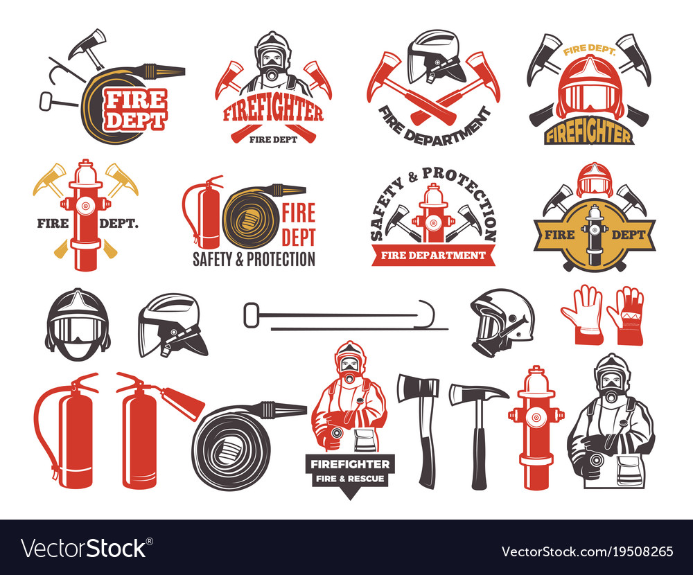 Colored badges for firefighter department symbols