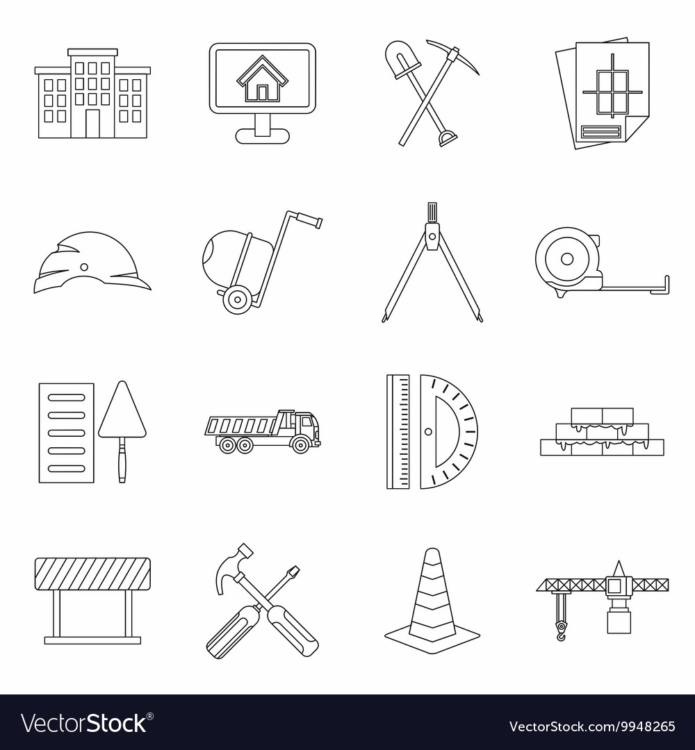 Construction icons set outline style