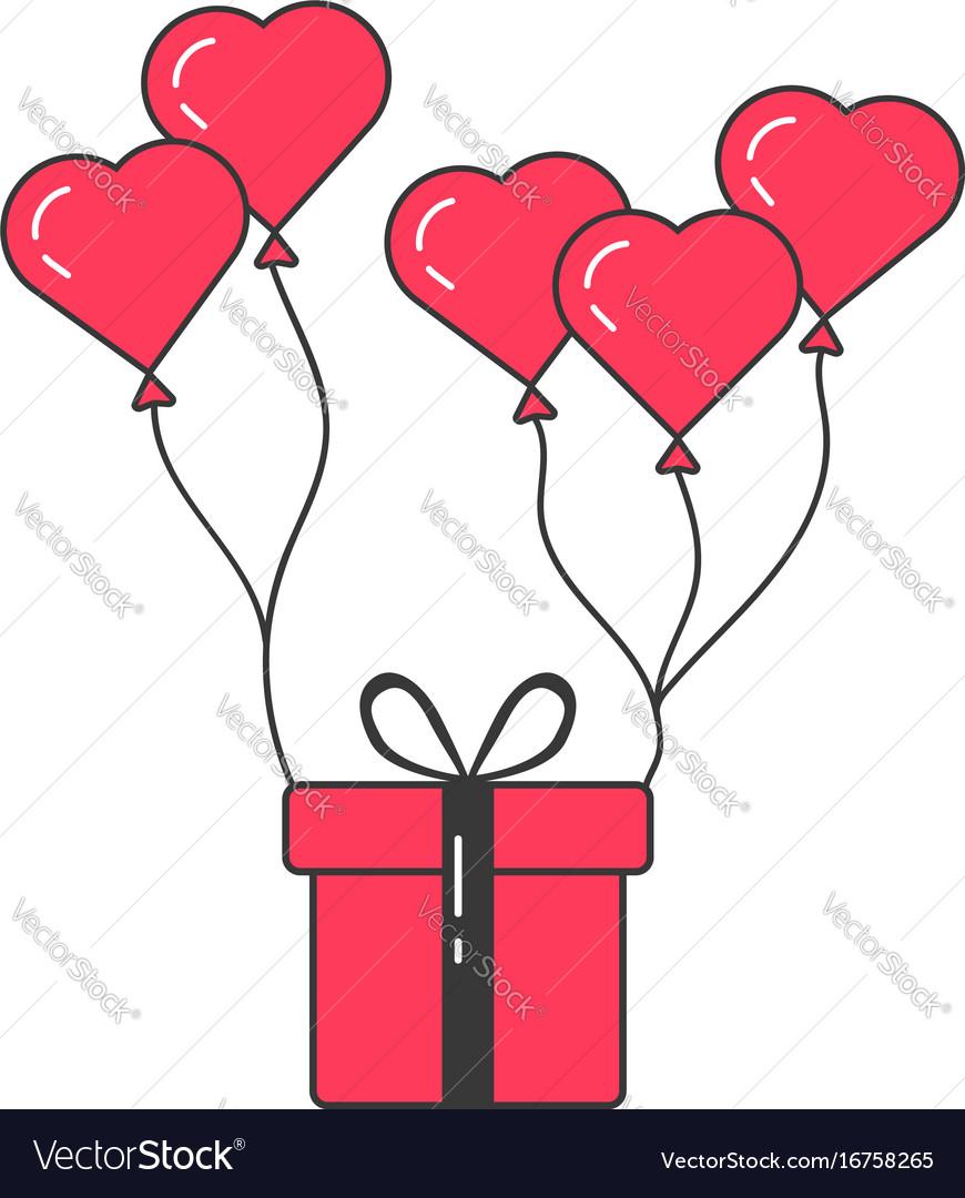 Gift box flying on balloons