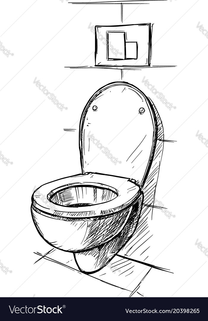 Hand Drawing Of Toilet Bowl In Bathroom Royalty Free Vector - Drawing of bathroom