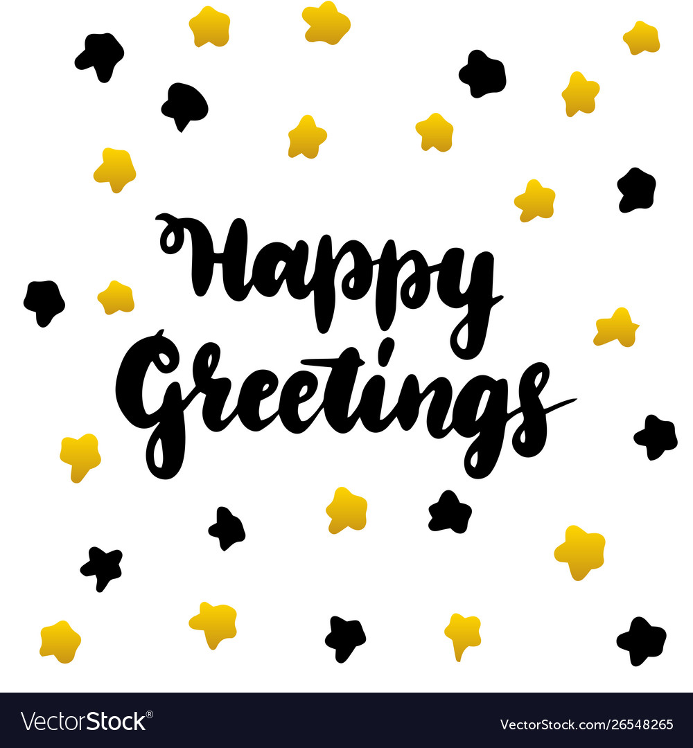 Happy greetings handwritten postcard