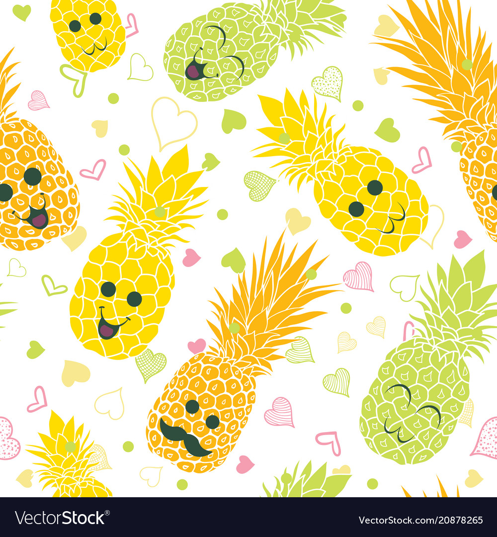 Happy pineapple faces seamless repeat pattern