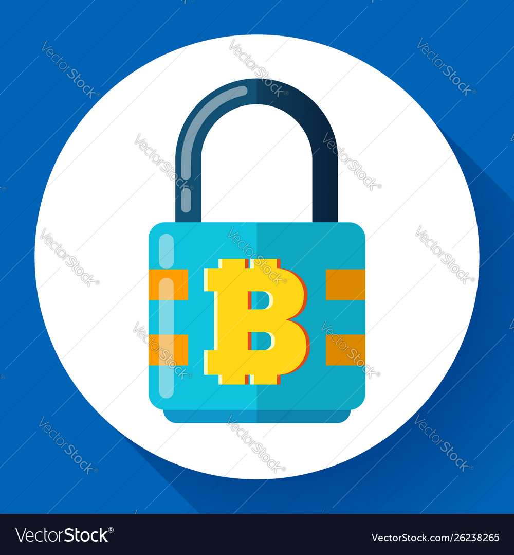 Lock with bitcoin symbol icon cryptocurrency