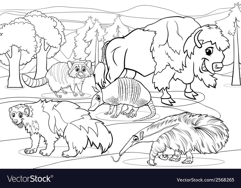 Mammals animals cartoon coloring page
