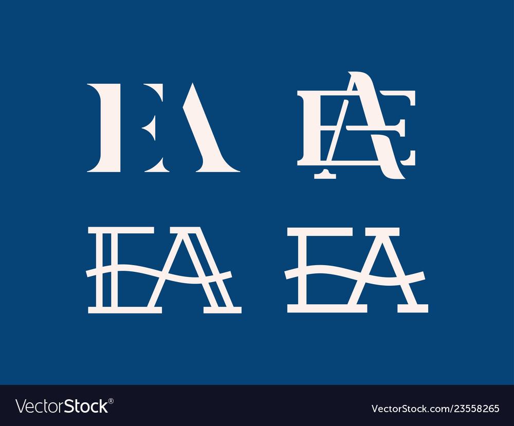 Modern professional logo ea monogram in