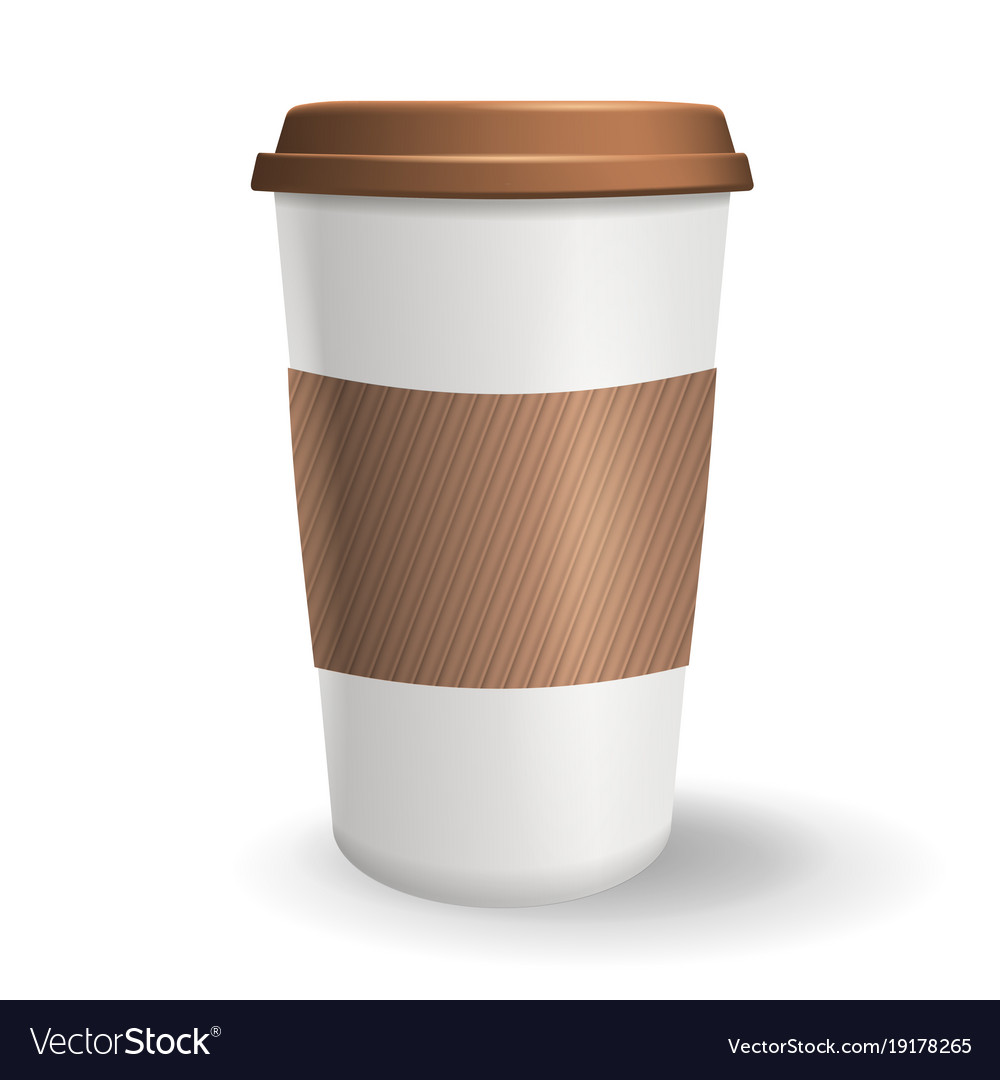 realistic take away and to go paper coffee cup vector image