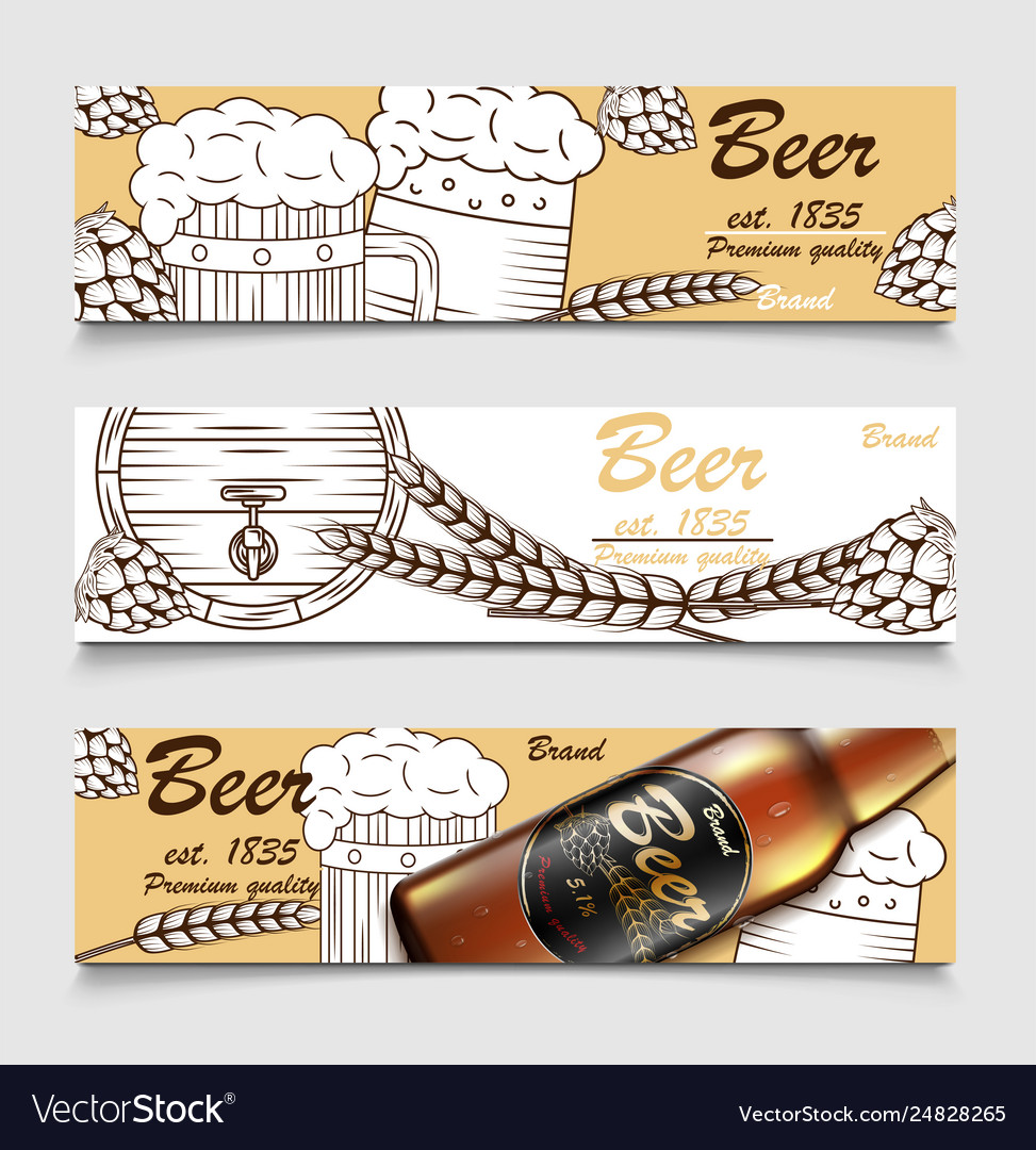 Set cartoon banners with beer glasses bottle
