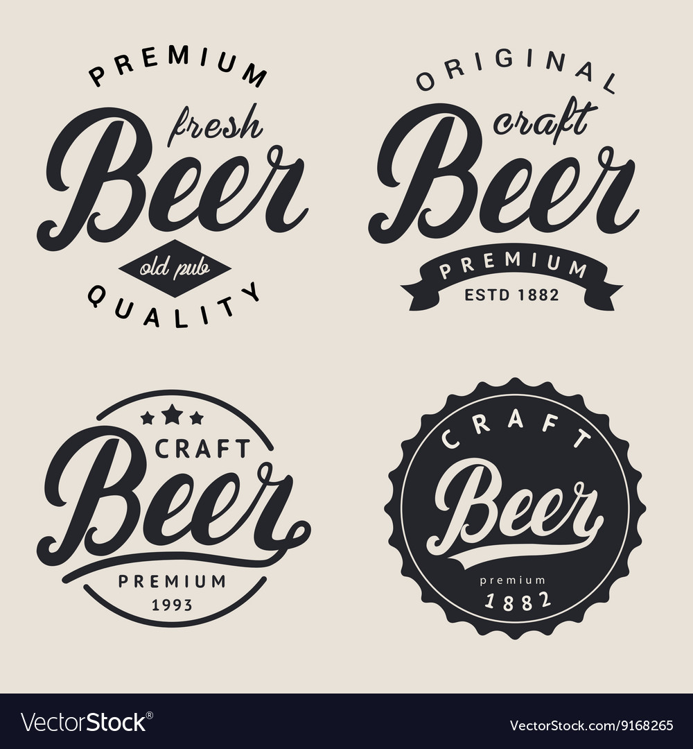 Set lettering beer logo logotype label and