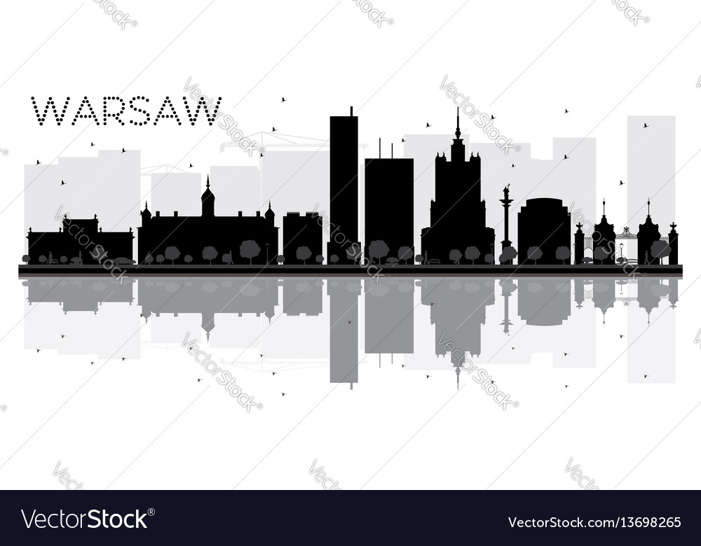 Warsaw city skyline black and white silhouette