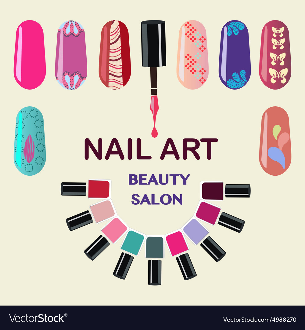 Beauty Nails Art Beauty Salon Royalty Free Vector Image