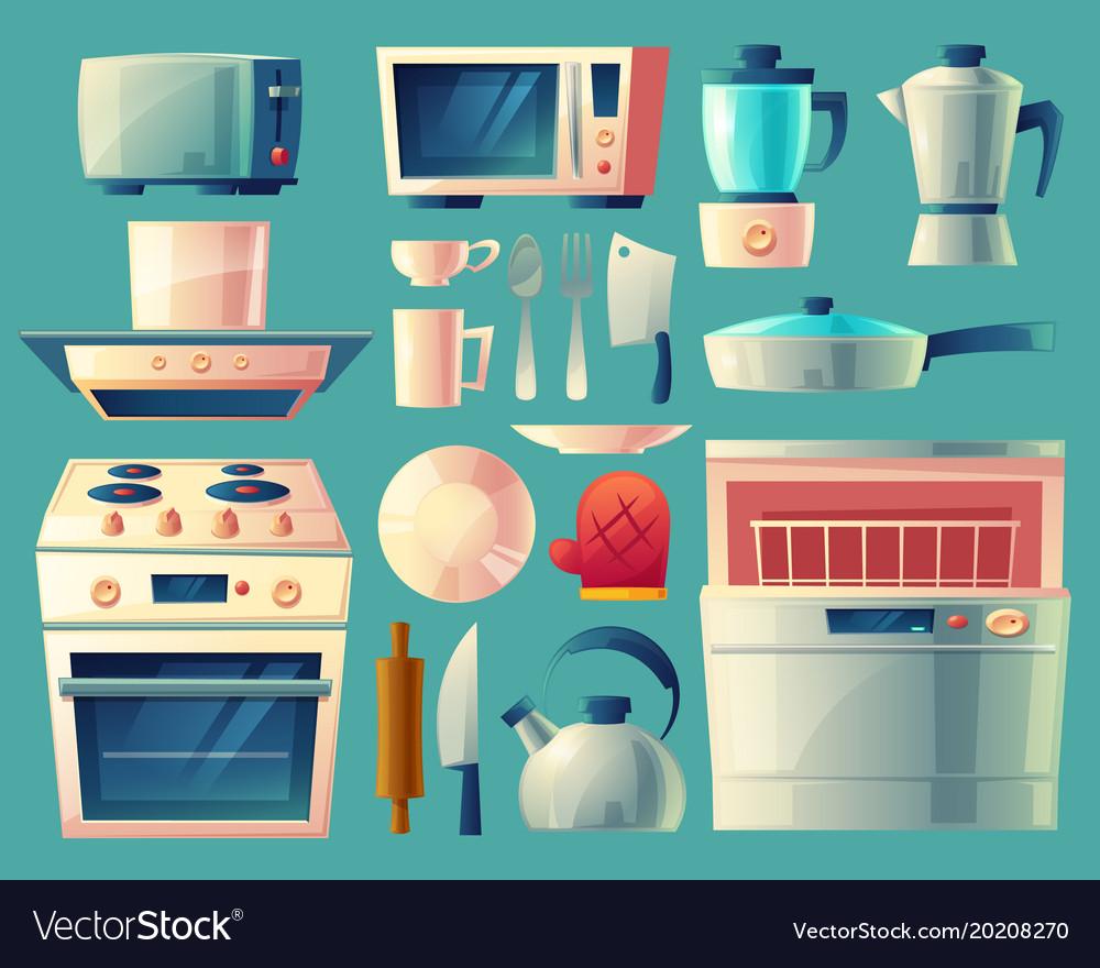 Cartoon set of kitchen appliances Royalty Free Vector Image