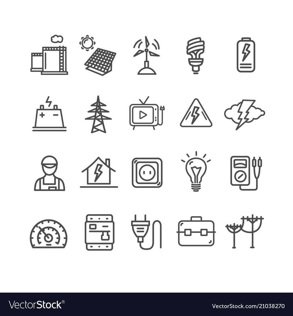 Electricity signs black thin line icon set