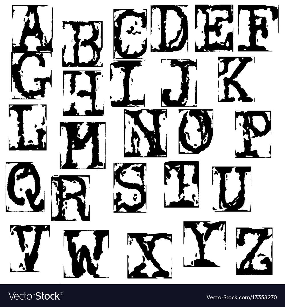 Old typewriter font vintage grunge letters