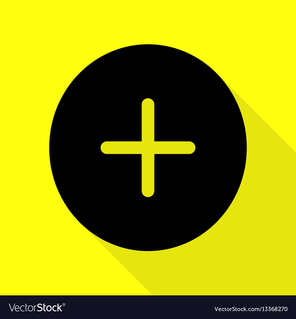 Positive symbol plus sign black icon with flat