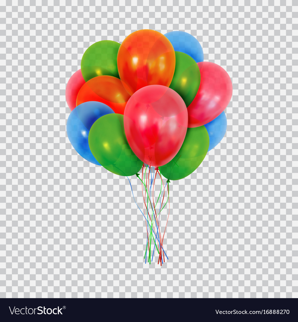 Red green and blue helium balloons set isolated on