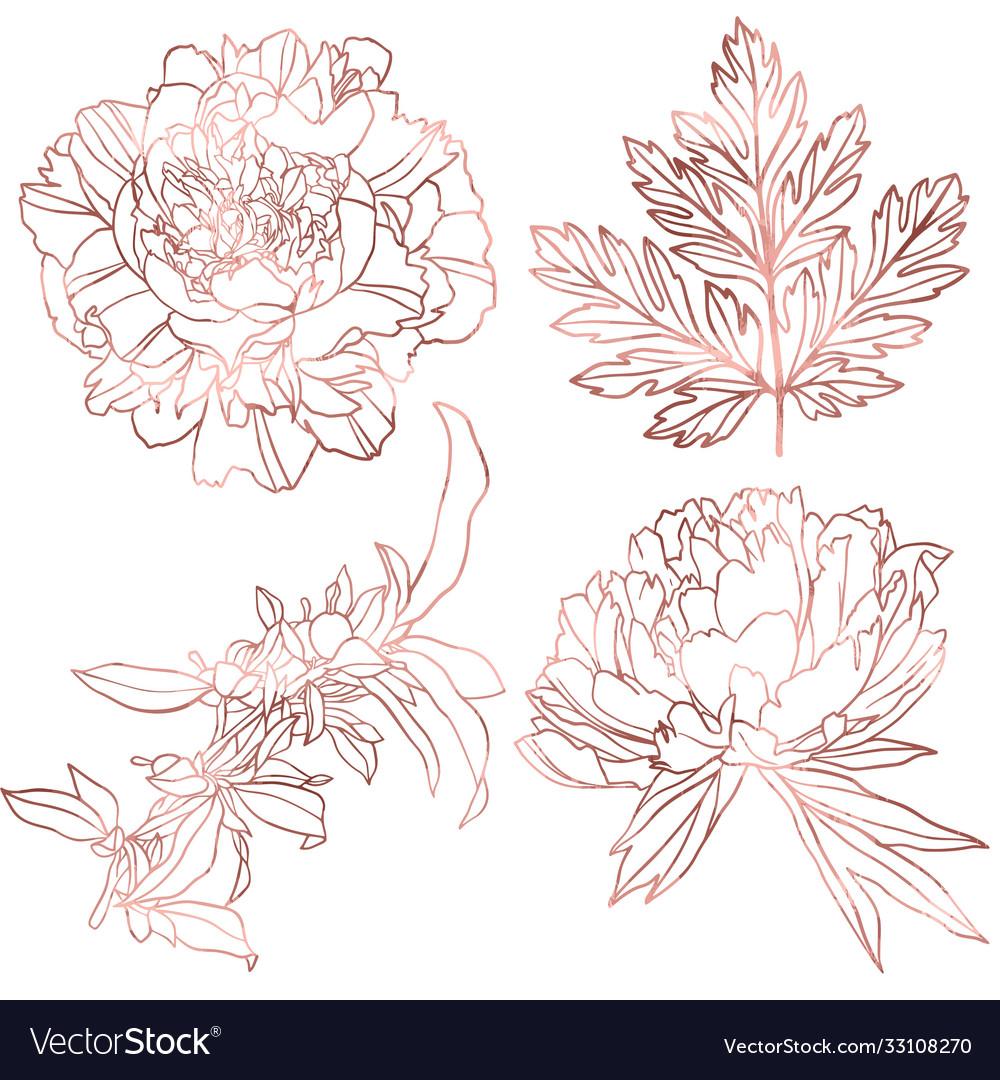 Rose gold elements set hand drawn