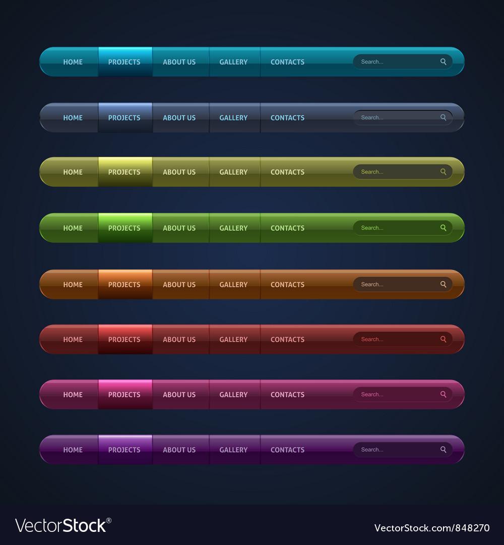 Set of 8 navigation bar for website