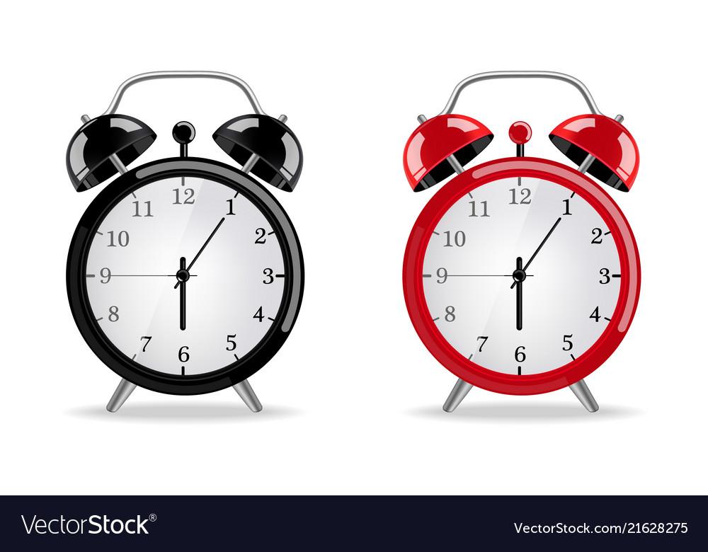 Alarm clock realistic red and black clocks