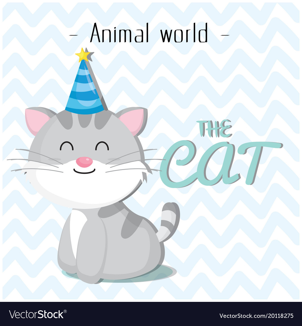 Animal world the cat wearing a party hat backgroun
