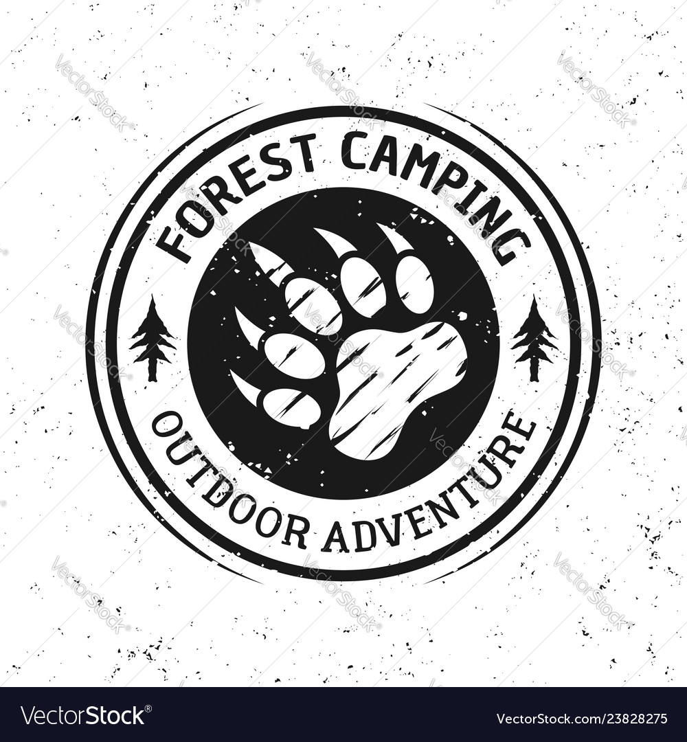 Bear footprint vintage round camping emblem