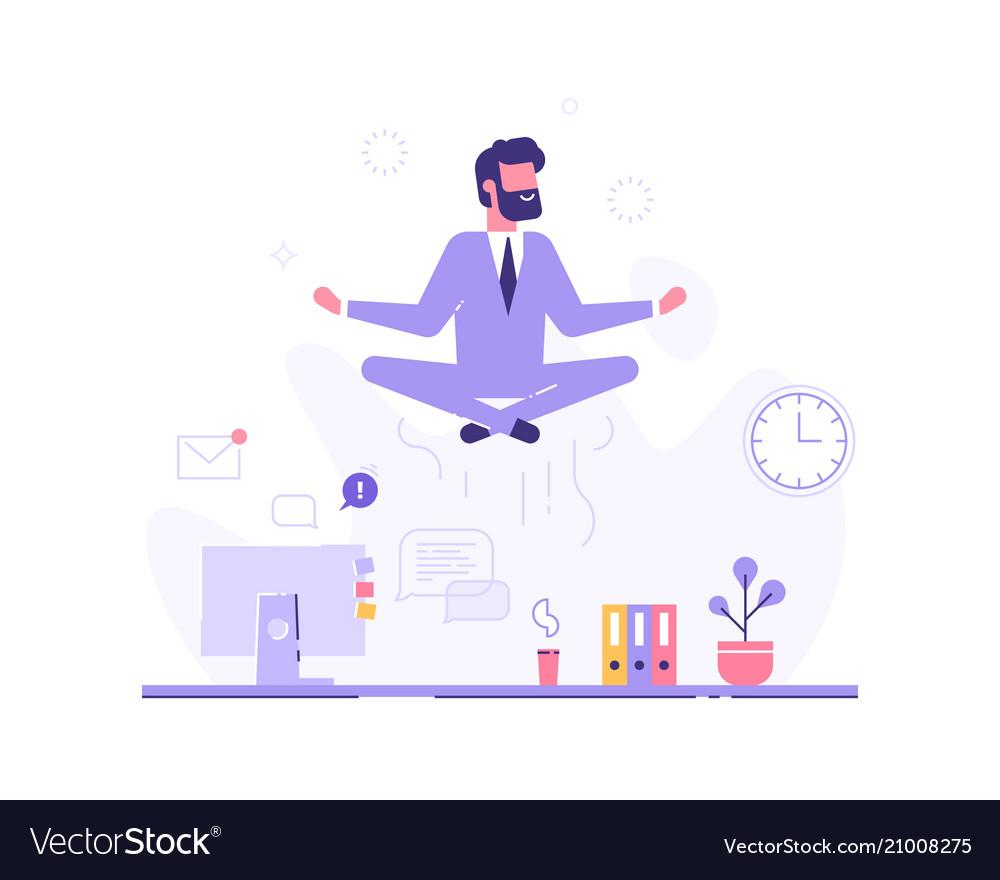 Businessman doing yoga in office over desk