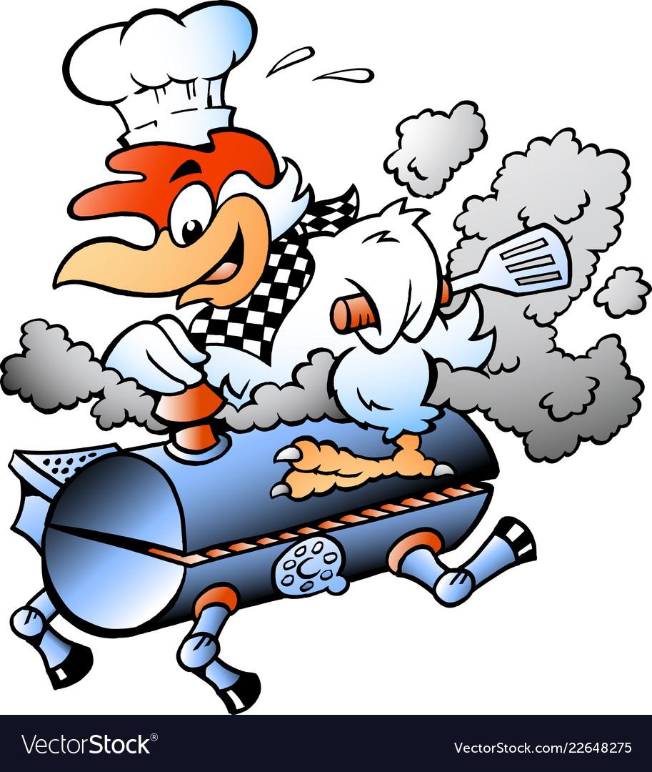 Cartoon of an chef chicken riding a bbq grill