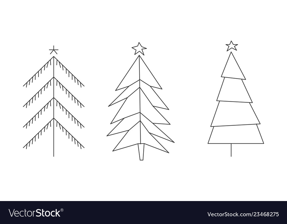 Christmas trees set hand drawn black and white