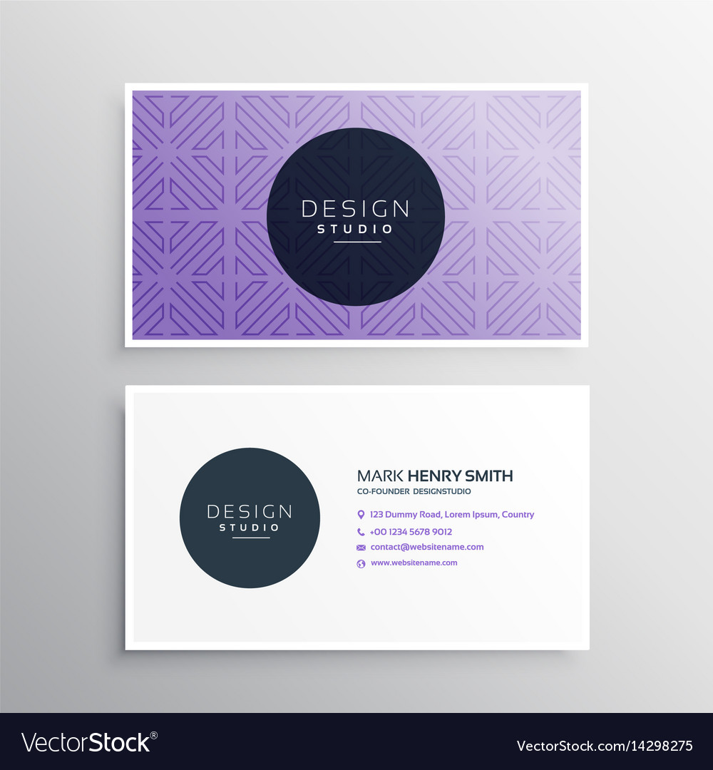 Clean purple business card template Royalty Free Vector