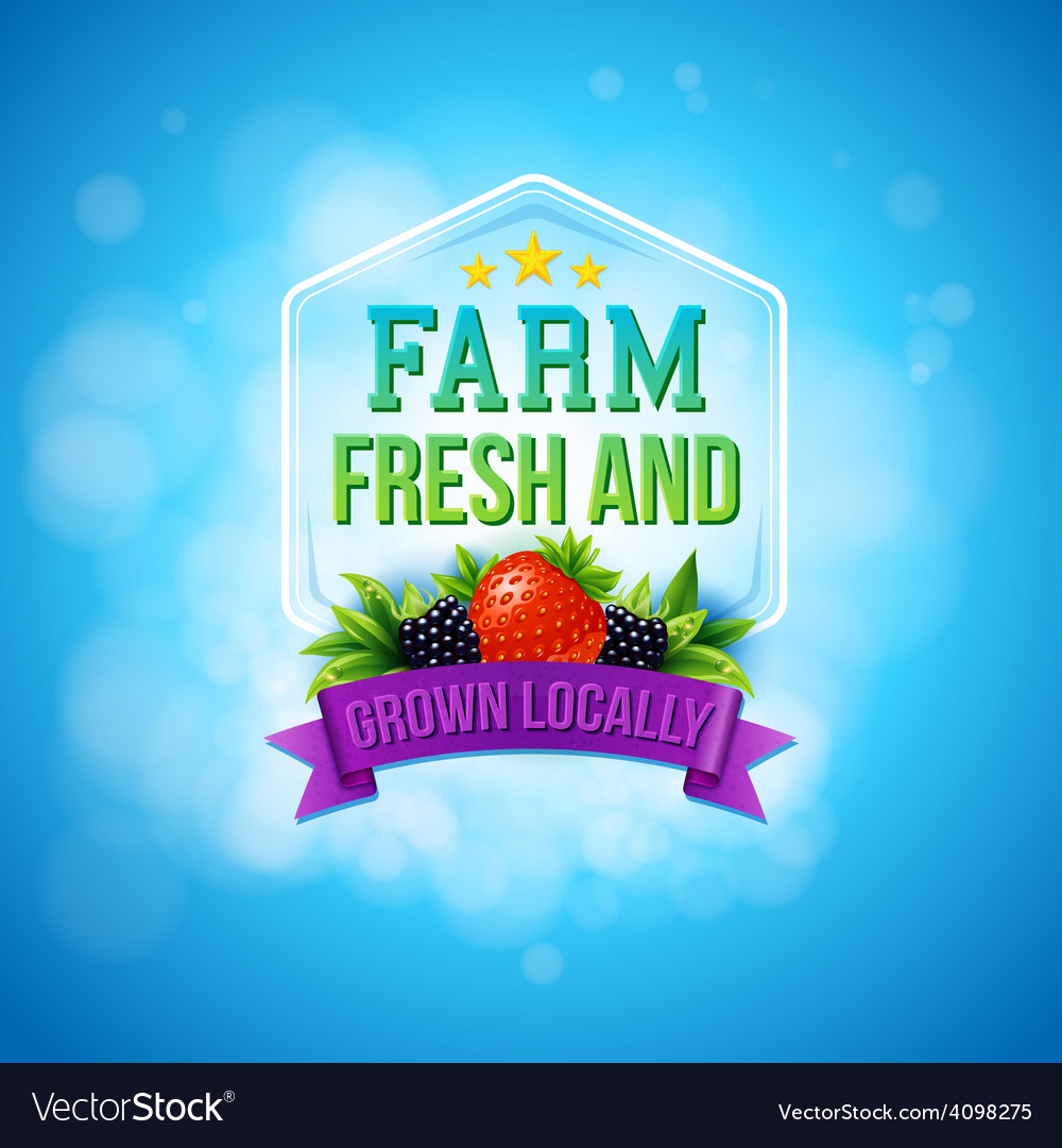 ce2785f7a95 Colorful poster design for Farm Fresh produce Vector Image