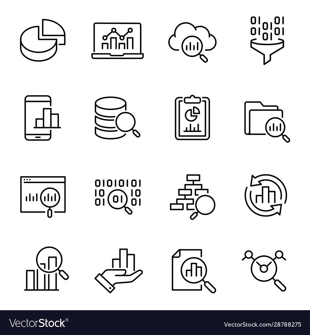 Data analysis information search icons set