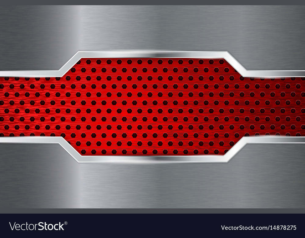 Metal background with red perforation plate