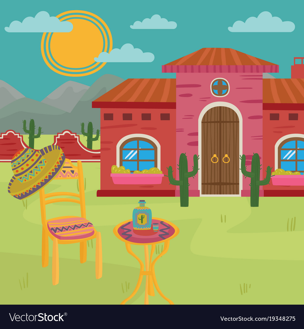 Mexican Villa Traditional House And Yard Vector Image