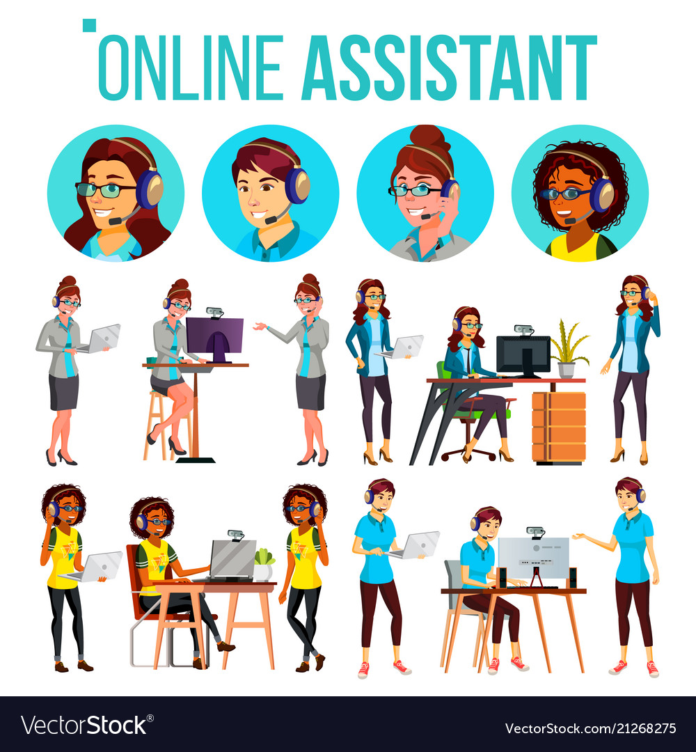 Online assistant woman set online global