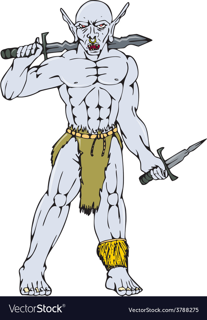 Orc Warrior Sword Dagger Cartoon vector image