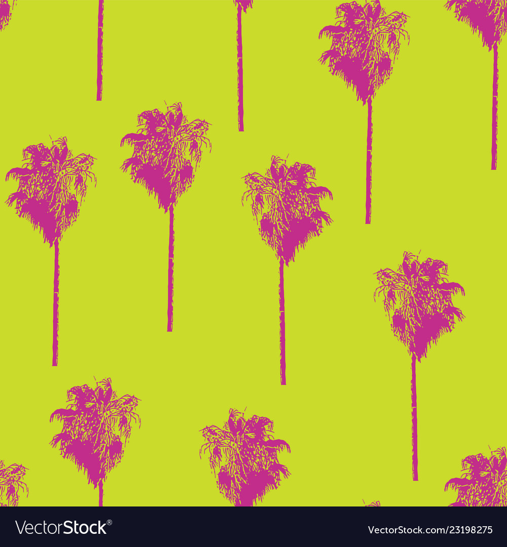 Palm trees retro style pink on lime green pattern
