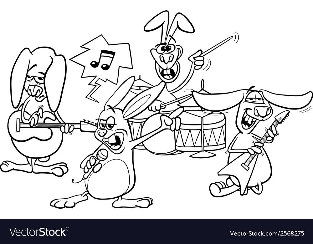 Rabbits Rock Music Band Coloring Page Royalty Free Vector