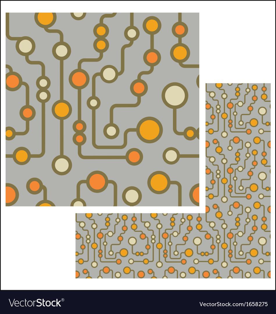 Retro circuit seamless pattern vector image