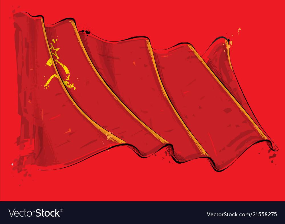 Soviet union artistic brush stroke waving flag