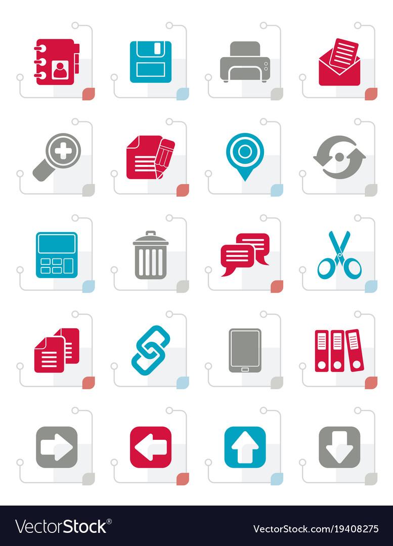 Stylized internet interface icons