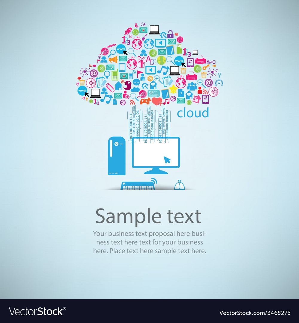Template design computer idea with social network
