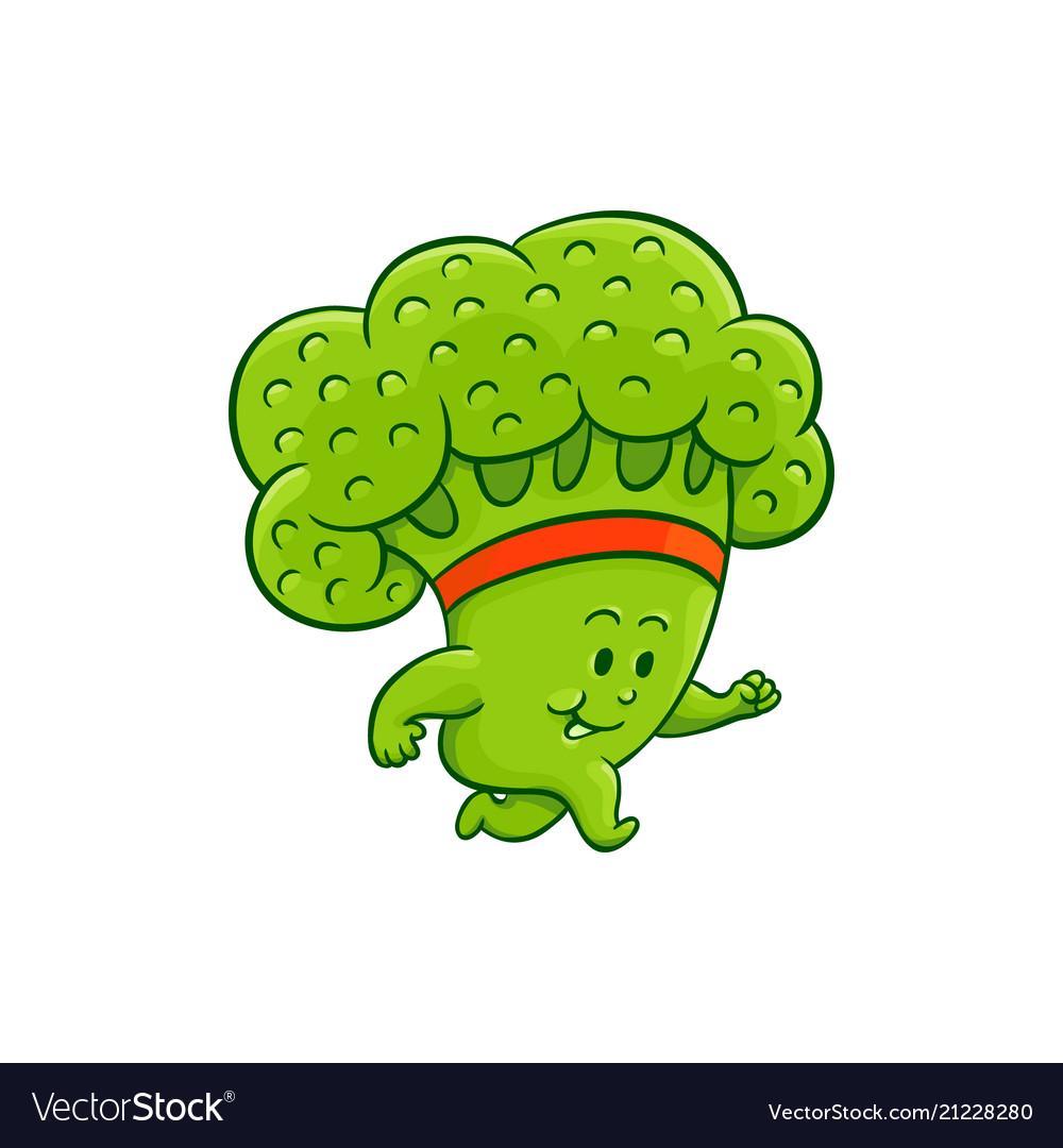 cartoon broccoli character jogging royalty free vector image vectorstock