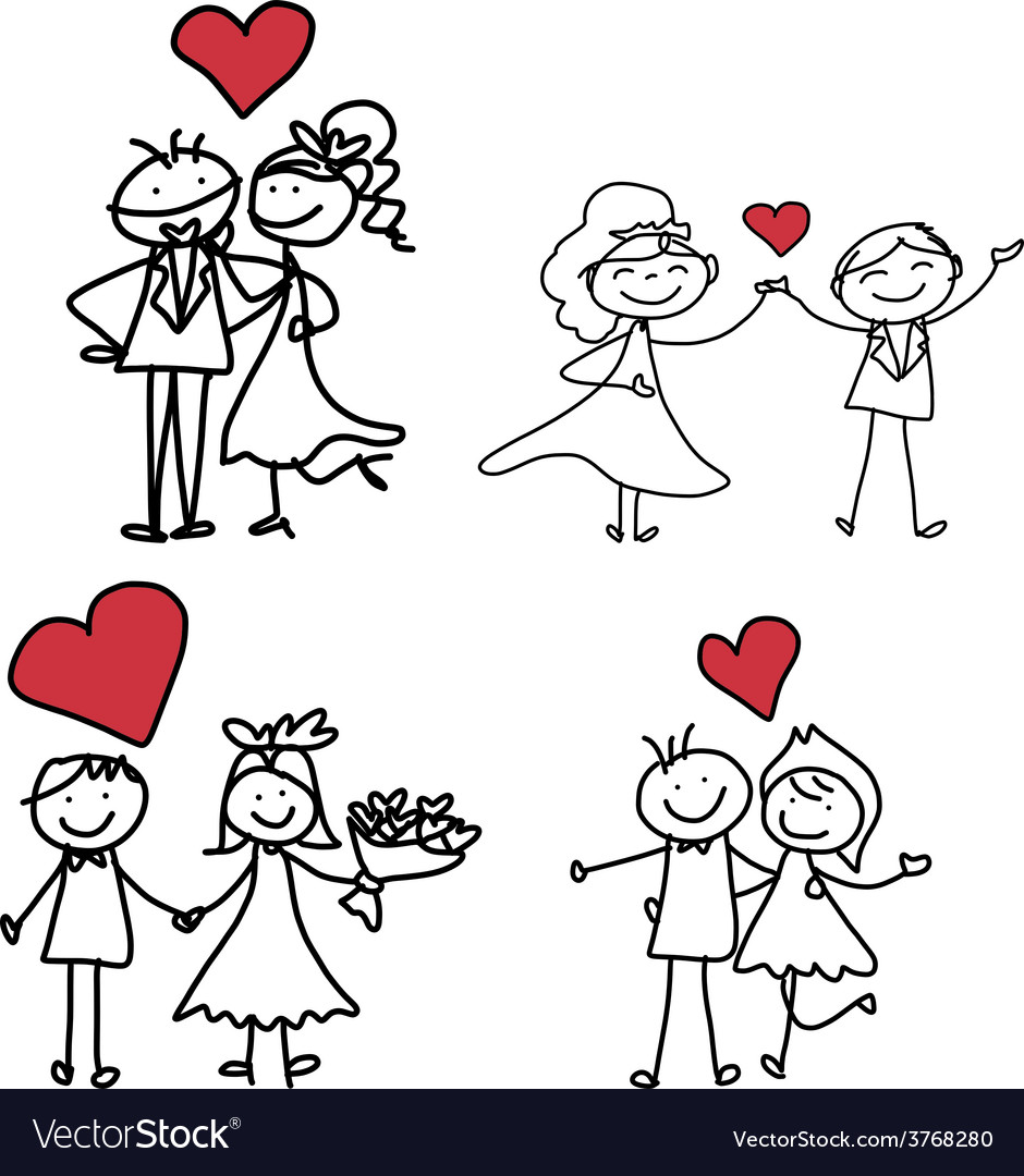 Cartoon character happiness wedding