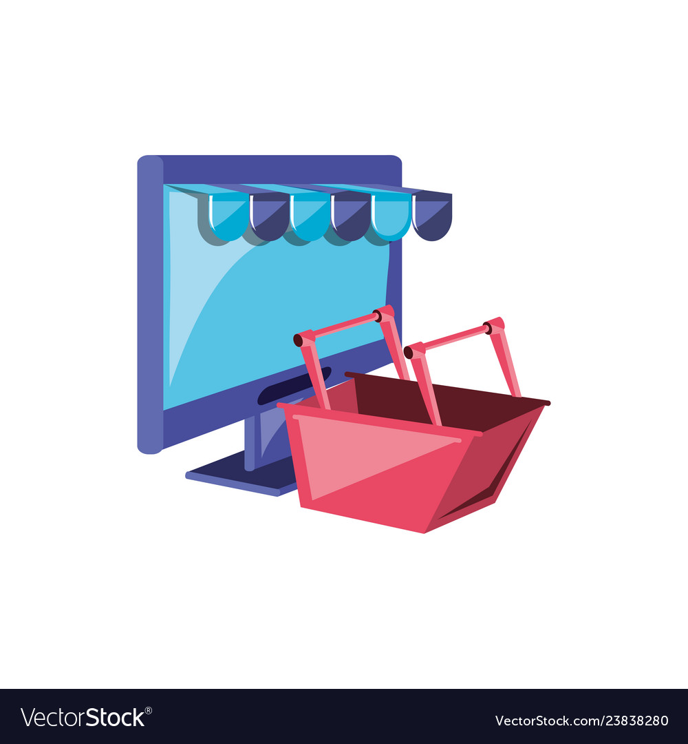 Computer monitor with parasol store and basket