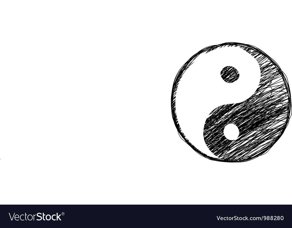 Doodle Yin Yang Symbol Royalty Free Vector Image