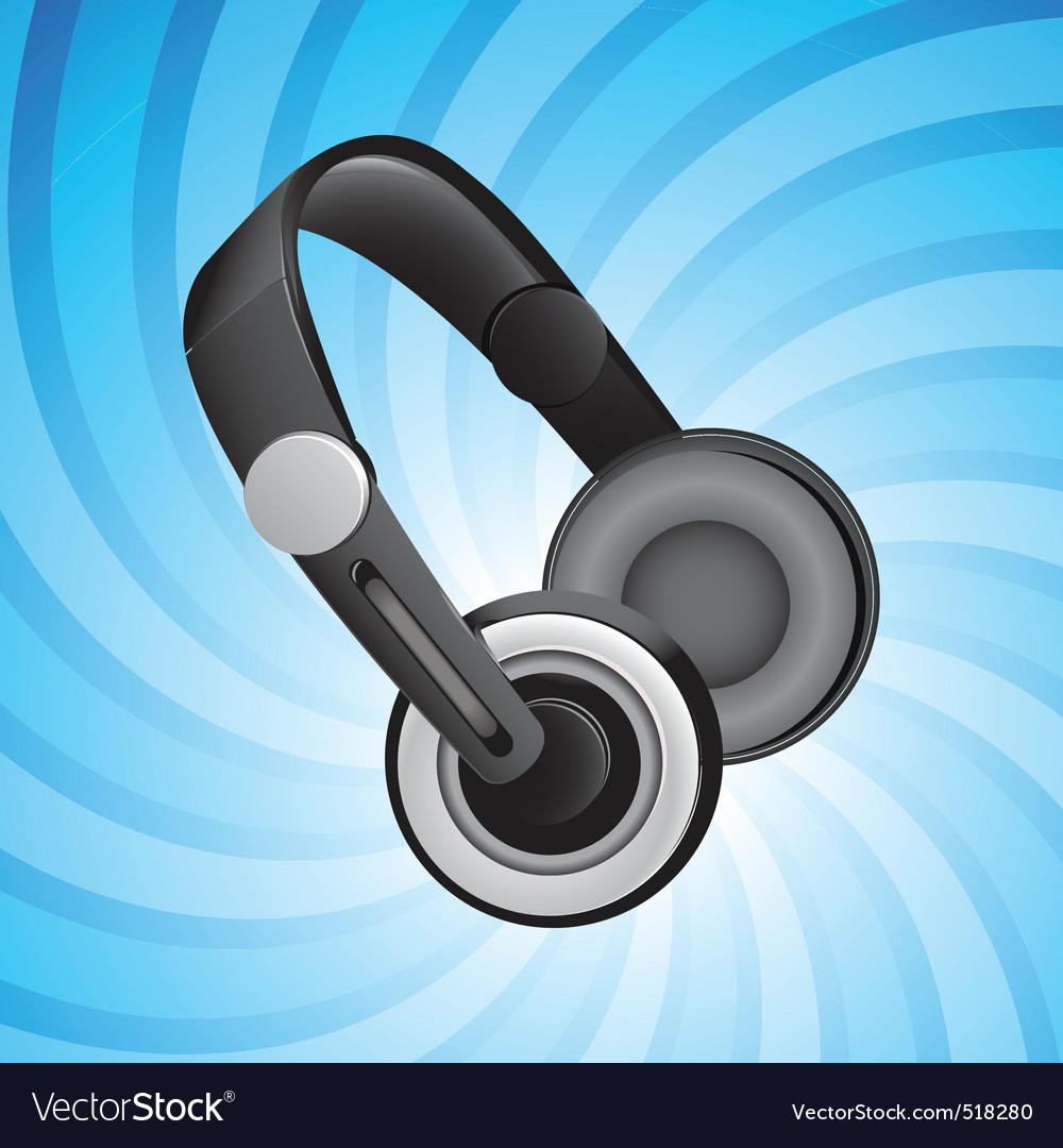 Headphones on blue vector image